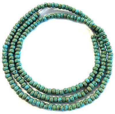 Fine vintage Turquoise Picasso matching 4mm glass beads Trade Beads