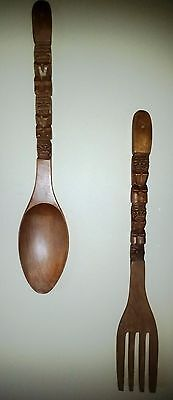 Retro Vintage Giant Pair of Wooden Fork & Spoon Wall Decor