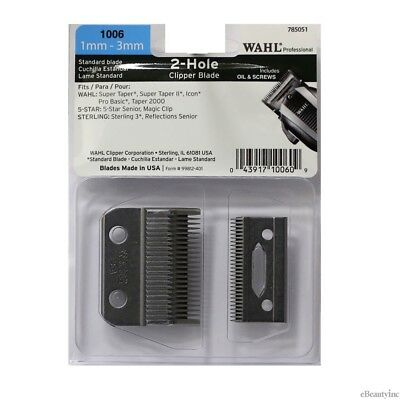 Wahl 2-Hole Blade for Super Taper 8400, Magic 8451, Senior 8545 Clippers #1006