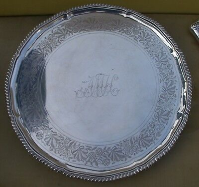 Fine Antique Georgian sterling silver salver, 1184 grams, 13.5 inches, 1783