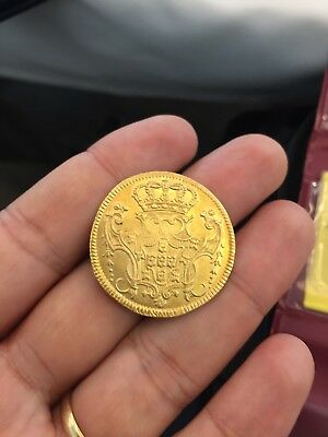 Brazil Gold 6400 Reis 1744 B Almost Uncirculated! Rare!!