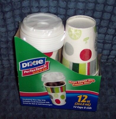 Dixie Holiday Design 12 Oz Perfectouch Grab 'n Go 14 Ct Insulated Cups & Lids