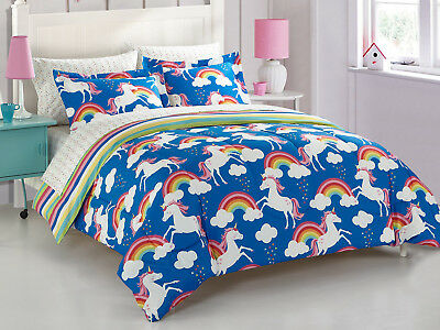 Kids Comforter Set Twin Size Bed In A Bag Reversible Children Bedding Complete