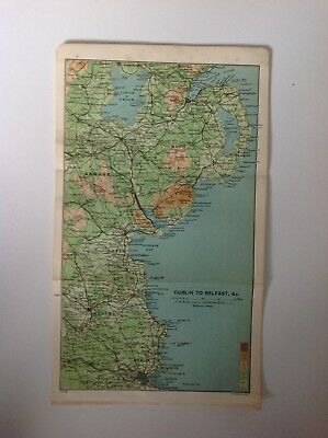 Dublin To Belfast, &c. 1902, Antique Map, Bartholomew, Original