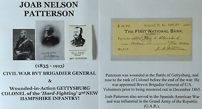CIVIL WAR GENERAL WIA GETTYSBURG COLONEL 2nd NH INFANTRY DOCUMENT SIGNED CHECK !