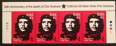 Irish 2017 Che Guevara €1 Issue um mint top marginal strip of 4
