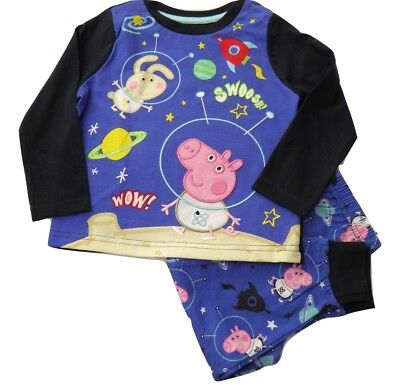 Boys George / Peppa Pig Space Official Cotton Pyjamas Sleepwear Blue 1-4 Years