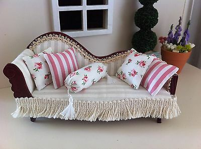 12 th scale Doll's house Cushions set of 5 Pink Roses