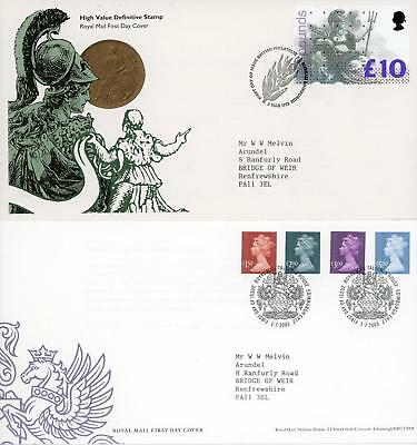 GB 1993 £10 Britannia H/V and 2003 High Values, Royal Mail FDC's