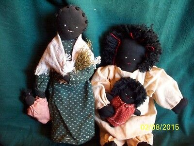 Two vintage Handmade Black  Folkart Rag Dollies with Babies 11 and 10 inch