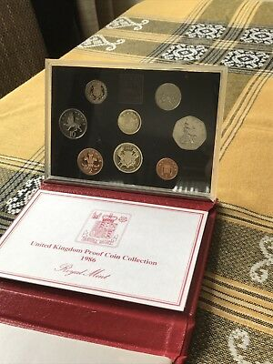 Elizabeth II 1986 Deluxe Proof Set (8 Coins)       J2 Leather Case Royal Mint