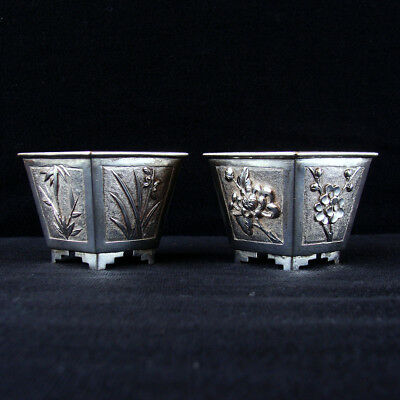 Two Antique Chinese Silver Diamond Form Cups Floral Decoration SUN KEE Hong Kong