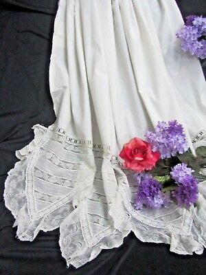 ANTIQUE Linen bed SHEET large PILLOW SHAM French LACE ruffle DEEP scallop edge