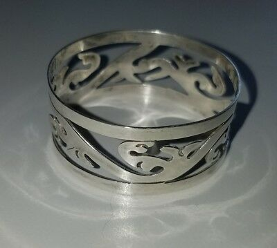 Antique A. Frankfield Sterling Silver Filigree Napkin Ring Monogrammed