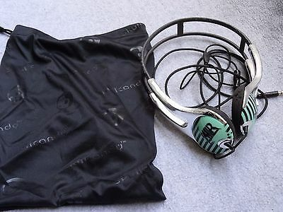 Skullcandy All American Rejects ICON2 HEADPHONES Used/Worn IN POUCH AAR