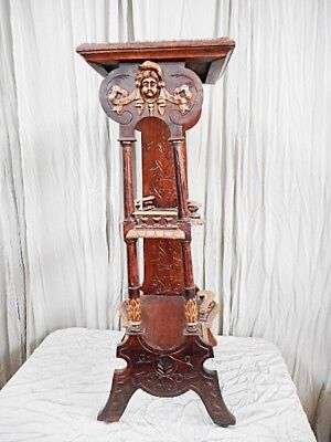 French Antique Carved Chestnut Selette / Stand (C414)