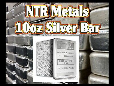NTR Metals 10oz Fine Silver Bullion Bar ag .999 (sealed)