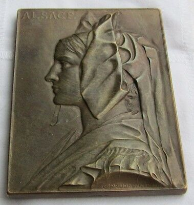 Vintage Alsace Bronze Plaque Signed early 20th