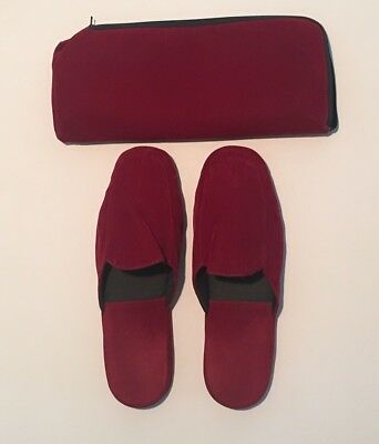 Mens Vintage Red Velvet Travel Slippers Sz 12 & Case Gift Christmas Not Worn