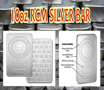 RCM 10 oz 9999 Fine Silver AG Bar Royal Canadian Mint (sealed)
