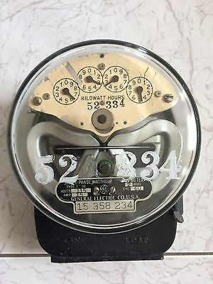 Vtg GENERAL ELECTRIC Type I-16 Single Phase WATTHOUR Meter Watt GLASS ge