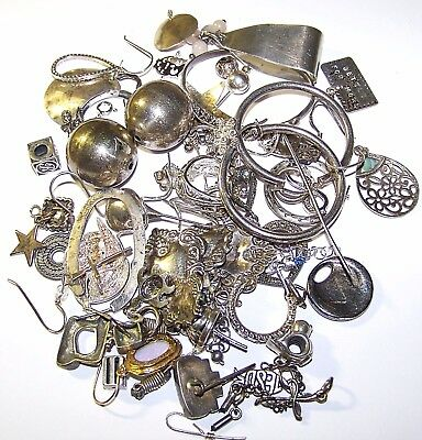 STERLING SILVER JEWELRY SCRAP, ALMOST EVERYTHING WAS TESTED, 127.6 Grams
