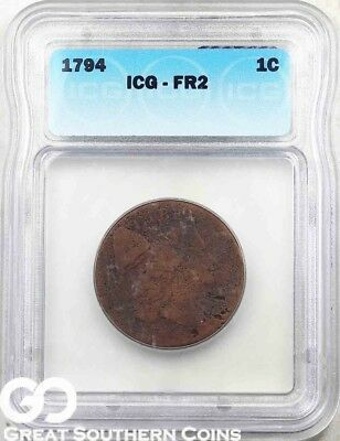 1794 ICG Large Cent, Flowing Hair ICG FR 2 ** Scarce Early Date!