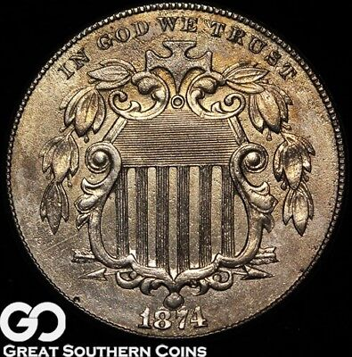 1874 Shield Nickel, Better Date, Early Date