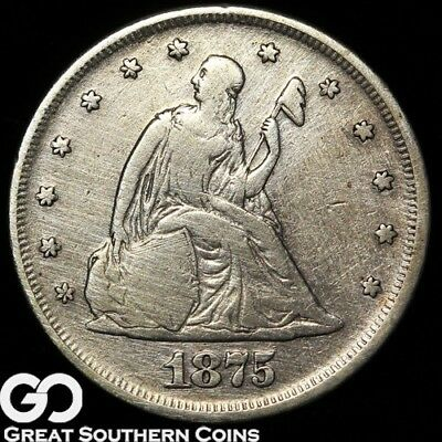 1875 Twenty Cent Piece, Details Lightly Cleaned, Scarce Type!
