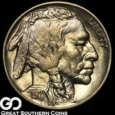 1927 Buffalo Nickel, Sharp Horn and Tail, Nice Lustrous Gem BU