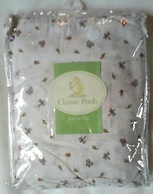 New CLASSIC POOH Crib Dust Ruffle NIP Bees Butterflies Flowers