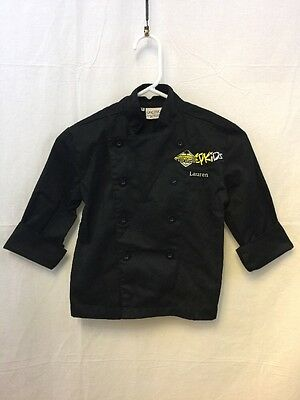 "California Pizza Kitchen CPK Kids Black Cotton Chefs Coat XS ""Lauren"""