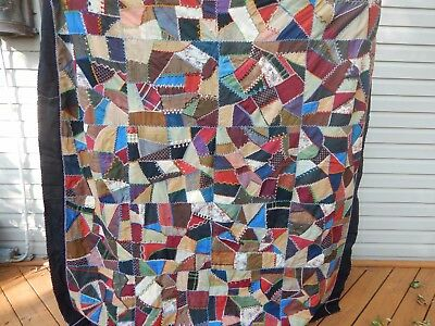 Early CRAZY Quilt Quilt top Counterpane  VINTAGE