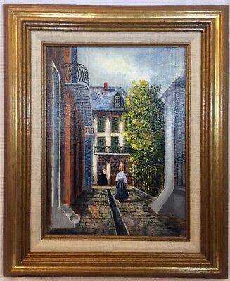 1950s IMPRESSIONIST OIL PAINTING of a Nun in an Alley Street Scene Signed Helga