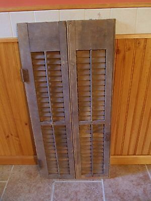"Pair Antique Hinged Window Wood Movable Louvered Shutter Shabby Chic 36"" tall"