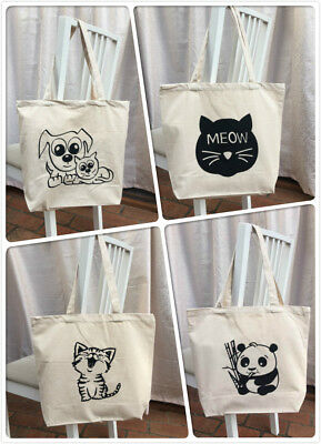 Cotton Beige Shopping Shoulder Tote Bag Cats/Kitties/Pandas/Dogs Extra Thickness