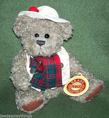 Brass Button Pickford Teddy Bear of Health TANNER Vtg With Tags