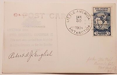 Byrd Expedition II Robert A. J. English Signed Postcard From Little America L@@K