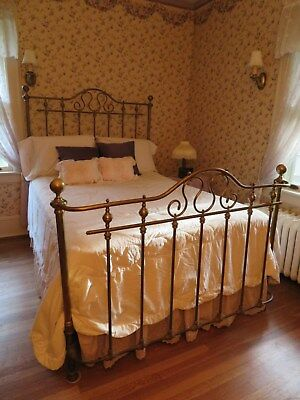 Brass Bed:Turn of the Century,  Antique,Ornate Bed w/ Curved Front, Cannon Balls