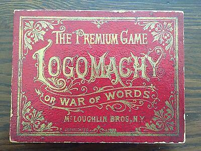 "Antique 1889 ""Premium Game Of Logomachy Or War Of Words"" Card Game – Mcloughlin"
