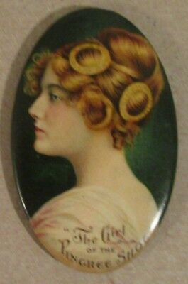 """c 1910 """"The Girl of the Pingree Shoes"""" Advertising Pocket Mirror"""