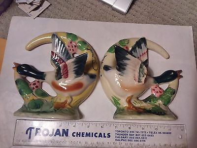 Two Vintage Wall Pockets - Ducks  - Decorated By Hand  - Florart