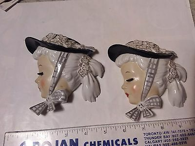 Two Wall Pockets - Head Vase Wall Pockets  - Ladies With Hats  - Japan