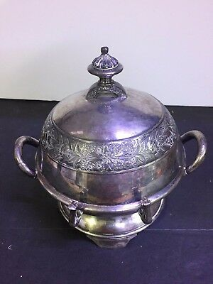 Antique Wilcox Silverplate  Covered Butter Dish With Knife Holder 1880