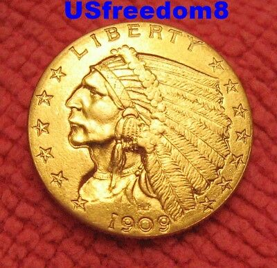 1909 $2.5 Gold Indian Better Date U.S. Coin Free Shipping