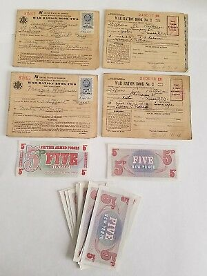 Vintage World War 2 Ration Book #2 & #3 (2 of each) & 12 B.A.F Vouchers