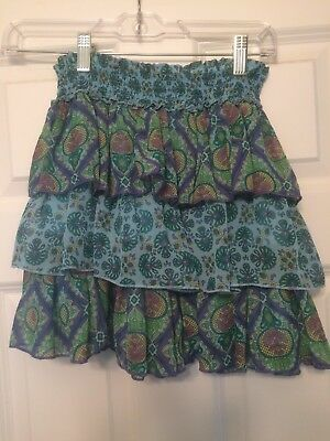 Girls Floral Blue Green Tiered Ruffle Skirt Size L Large 10 12