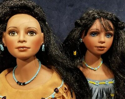 """Vintage Native American Porcelain Dolls with Traditional Outfit 18"""" Tall"""