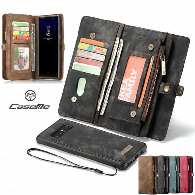 For Samsung S10 5G S7 Note 8 9 S9 S8 Zipper Wallet Leather Case Removable Cover