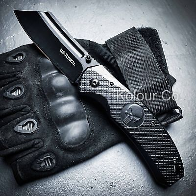 TACTICAL Spring Assisted Open Pocket Knife CLEAVER RAZOR FOLDING Blade SKULL